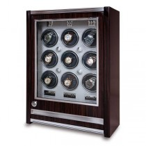 Rapport London Paramount Macassar Wood 9 Watch Winder w/ Glass Door