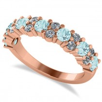Round Aquamarine Garland Wedding Band 14k Rose Gold (1.06ct)