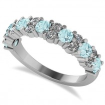 Round Aquamarine Garland Wedding Band 14k White Gold (1.06ct)
