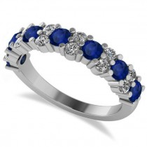 Round Blue Sapphire Garland Wedding Band 14k White Gold (1.06ct)