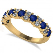 Round Blue Sapphire Garland Wedding Band 14k Yellow Gold (1.06ct)