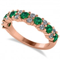 Round Emerald Garland Wedding Band 14k Rose Gold (1.06ct)