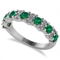 Round Emerald Garland Wedding Band 14k White Gold (1.06ct)