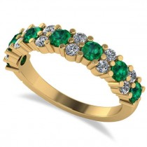 Round Emerald Garland Wedding Band 14k Yellow Gold (1.06ct)