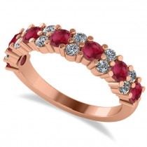 Round Ruby Garland Wedding Band 14k Rose Gold (1.06ct)