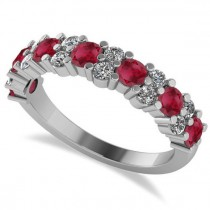 Round Ruby Garland Wedding Band 14k White Gold (1.06ct)