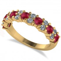 Round Ruby Garland Wedding Band 14k Yellow Gold (1.06ct)