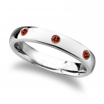 Maera Domed Tungsten Carbide Wedding Ring w/ 3 Red Rubies (4MM)