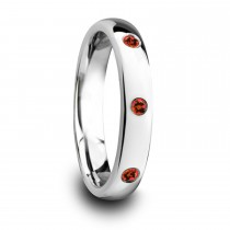 Maera Domed Tungsten Carbide Wedding Ring w/ 3 Red Rubies (4MM)