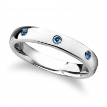 Halia Domed Tungsten Carbide Wedding Ring w/ 3 Sapphires (4MM)