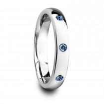 Halia Domed Tungsten Carbide Wedding Ring w/ 3 Sapphires (4MM)