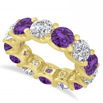 Diamond & Amethyst Eternity Wedding Band 14k Yellow Gold (11.00ct)