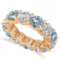 Diamond & Aquamarine Eternity Wedding Band 14k Rose Gold (11.00ct)