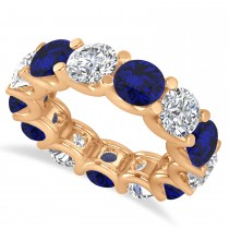 Diamond & Blue Sapphire Eternity Wedding Band 14k Rose Gold (11.00ct)