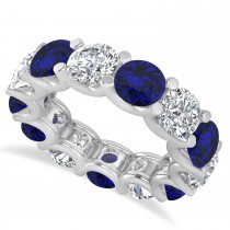 Diamond & Blue Sapphire Eternity Wedding Band 14k White Gold (11.00ct)