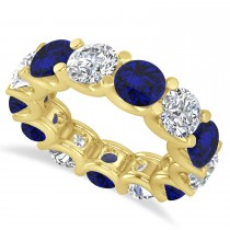 Diamond & Blue Sapphire Eternity Wedding Band 14k Yellow Gold (11.00ct)