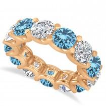 Diamond & Blue Topaz Eternity Wedding Band 14k Rose Gold (11.00ct)