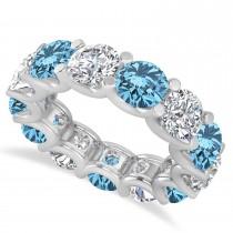 Diamond & Blue Topaz Eternity Wedding Band 14k White Gold (11.00ct)