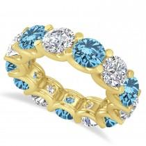 Diamond & Blue Topaz Eternity Wedding Band 14k Yellow Gold (11.00ct)