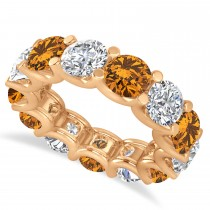 Diamond & Citrine Eternity Wedding Band 14k Rose Gold (11.00ct)