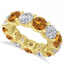 Diamond & Citrine Eternity Wedding Band 14k Yellow Gold (11.00ct)