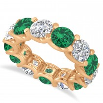 Diamond & Emerald Eternity Wedding Band 14k Rose Gold (11.00ct)