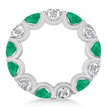 Diamond & Emerald Eternity Wedding Band 14k White Gold (11.00ct)