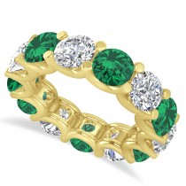 Diamond & Emerald Eternity Wedding Band 14k Yellow Gold (11.00ct)