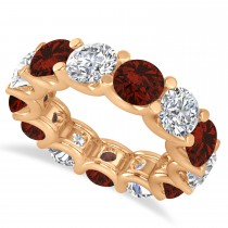 Diamond & Garnet Eternity Wedding Band 14k Rose Gold (11.00ct)