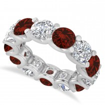 Diamond & Garnet Eternity Wedding Band 14k White Gold (11.00ct)