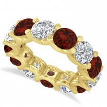 Diamond & Garnet Eternity Wedding Band 14k Yellow Gold (11.00ct)