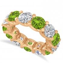 Diamond & Peridot Eternity Wedding Band 14k Rose Gold (11.00ct)