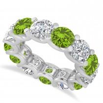 Diamond & Peridot Eternity Wedding Band 14k White Gold (11.00ct)