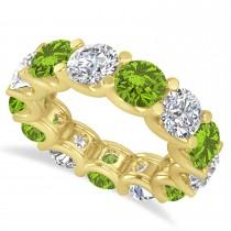 Diamond & Peridot Eternity Wedding Band 14k Yellow Gold (11.00ct)