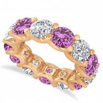 Diamond & Pink Sapphire Eternity Wedding Band 14k Rose Gold (11.00ct)