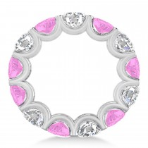 Diamond & Pink Sapphire Eternity Wedding Band 14k White Gold (11.00ct)