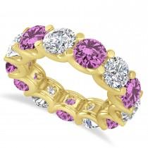 Diamond & Pink Sapphire Eternity Wedding Band 14k Yellow Gold (11.00ct)