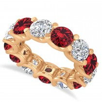 Diamond & Ruby Eternity Wedding Band 14k Rose Gold (11.00ct)