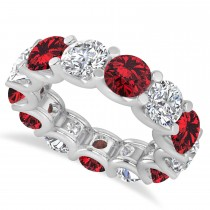Diamond & Ruby Eternity Wedding Band 14k White Gold (11.00ct)