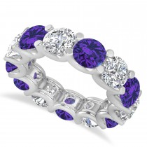 Diamond & Tanzanite Eternity Wedding Band 14k White Gold (11.00ct)