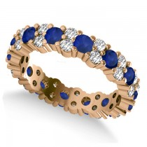 Garland Blue Sapphire & Diamond Eternity Band Ring 14k Rose Gold (1.69ct)