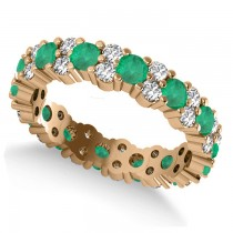 Garland Emerald & Diamond Eternity Band Ring 14k Rose Gold (1.69ct)