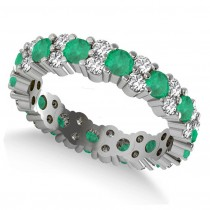 Garland Emerald & Diamond Eternity Band Ring 14k White Gold (1.69ct)