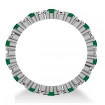 Garland Emerald & Diamond Eternity Band Ring 14k White Gold (1.69ct)