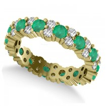 Garland Emerald & Diamond Eternity Band Ring 14k Yellow Gold (1.69ct)
