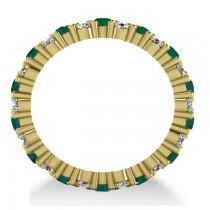Garland Emerald & Diamond Eternity Band Ring 14k Yellow Gold (1.69ct)
