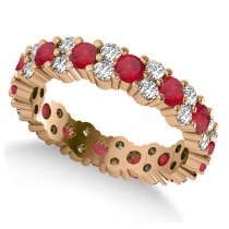 Garland Ruby & Diamond Eternity Band Ring 14k Rose Gold (1.69ct)