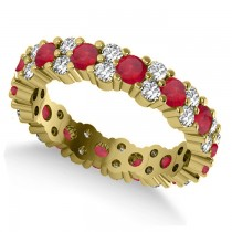 Garland Ruby & Diamond Eternity Band Ring 14k Yellow Gold (1.69ct)