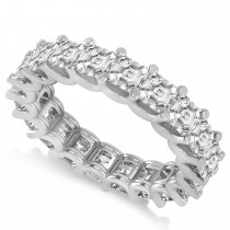 Asscher-Cut Diamond Eternity Wedding Band Ring 14k White Gold (5.00ct)