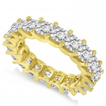 Asscher-Cut Diamond Eternity Wedding Band Ring 14k Yellow Gold (5.00ct)